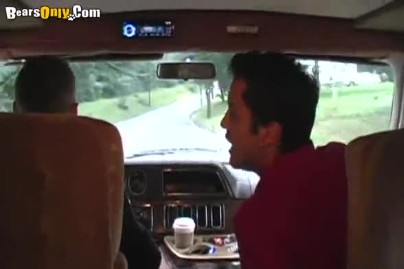 Interracial gay sex in a van